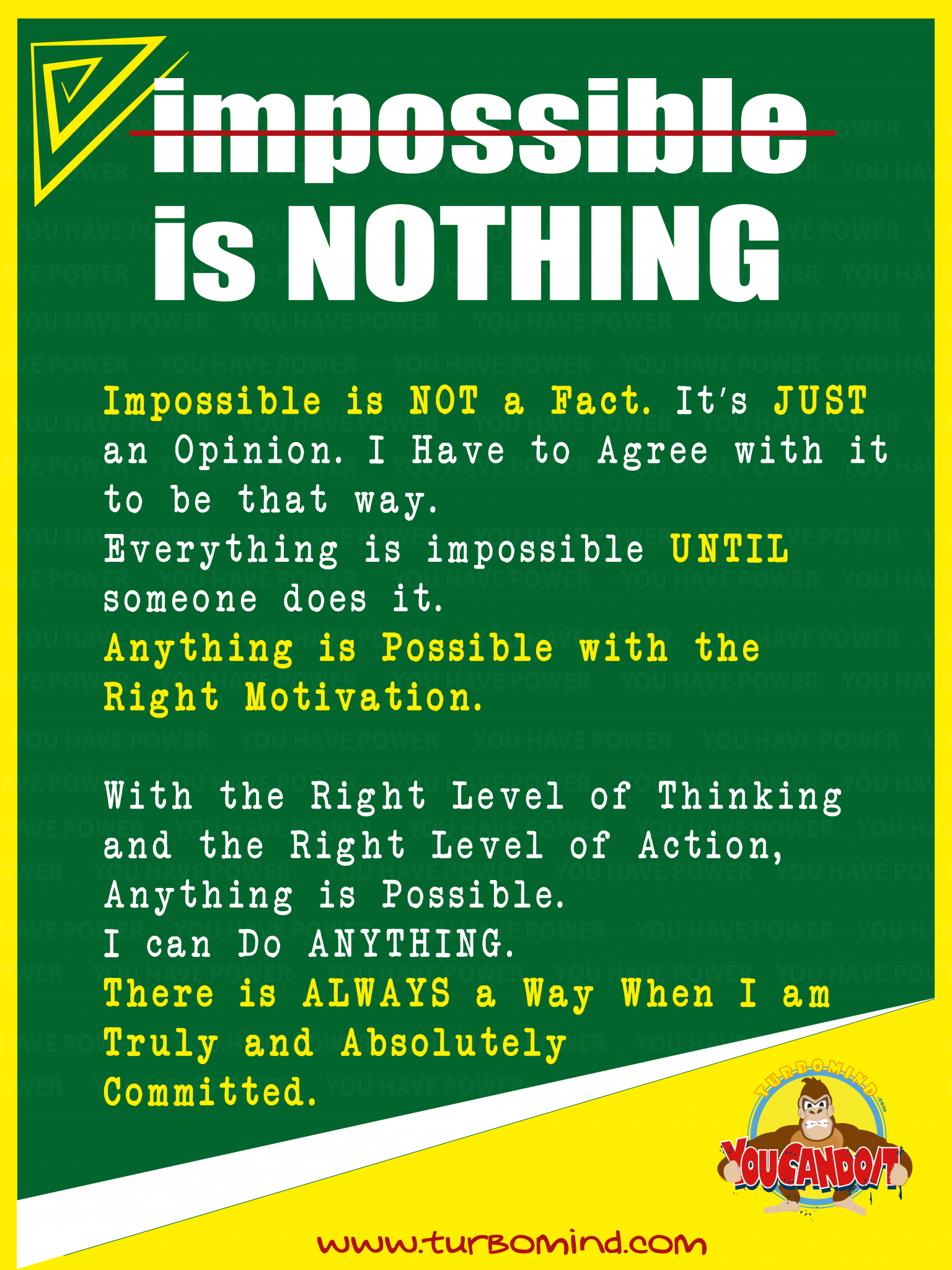 """""""Impossible is NOTHING"""", https://www.turbomind.com/"""