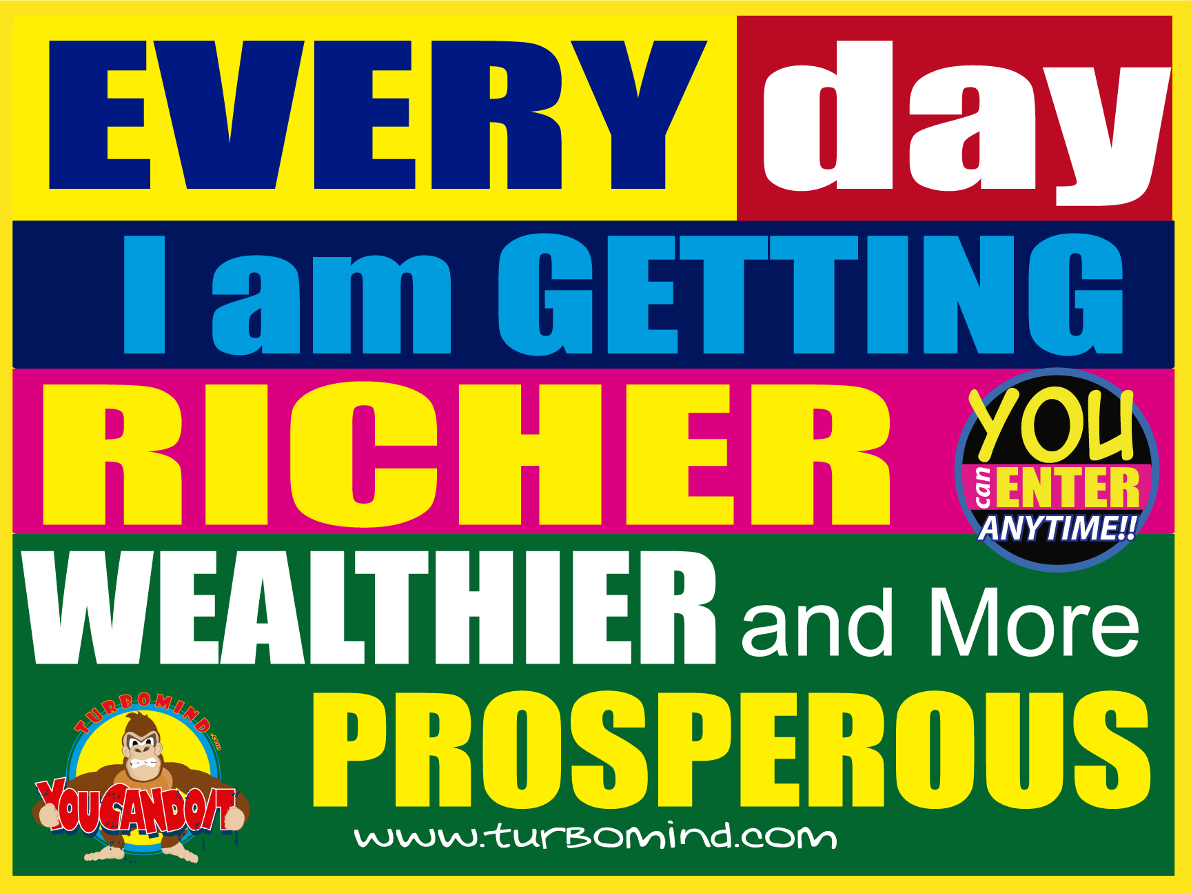 EVERY DAY I AM GETTING RICHER, WEALTHIER AND MORE PROSPEROUS